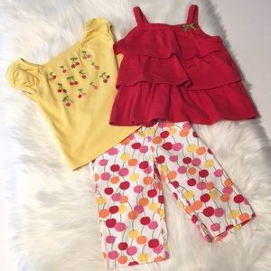 Gymboree Red/Yellow Cherry Outfit Size 3T-4
